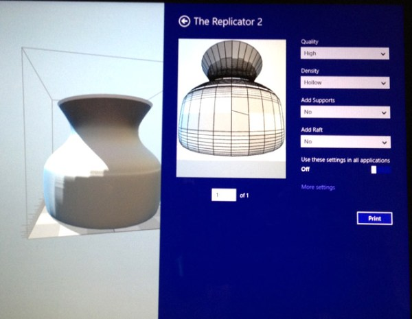 A 3D printing app for Windows 8.1 connected to a MakerBot Replicator