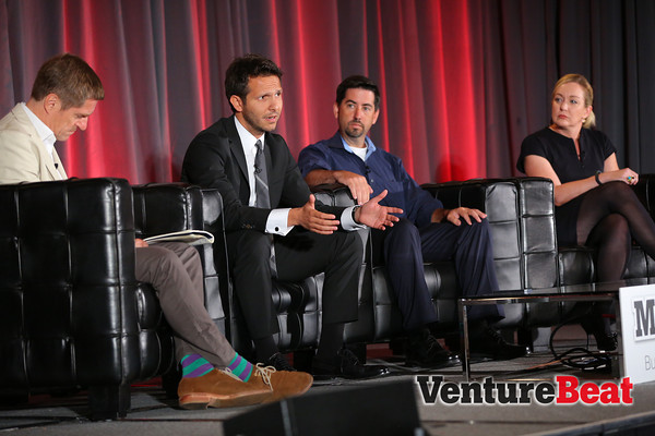 Onstage at MobileBeat 2013 talking mobile banking (from left to right): Mark Curtis, Deniz Güven, Brian Pearce, and Joanna Lambert.