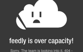 Screenshot of Feedly's iOS 'over capacity' bug