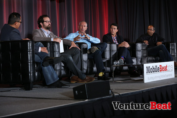 (From left to right) Mikkel Svane of Zendesk, Sam Lawrence of CrushPath, Alex Bard of Salesforce, Milind Gadekar of CloudOn at MobileBeat 2013.