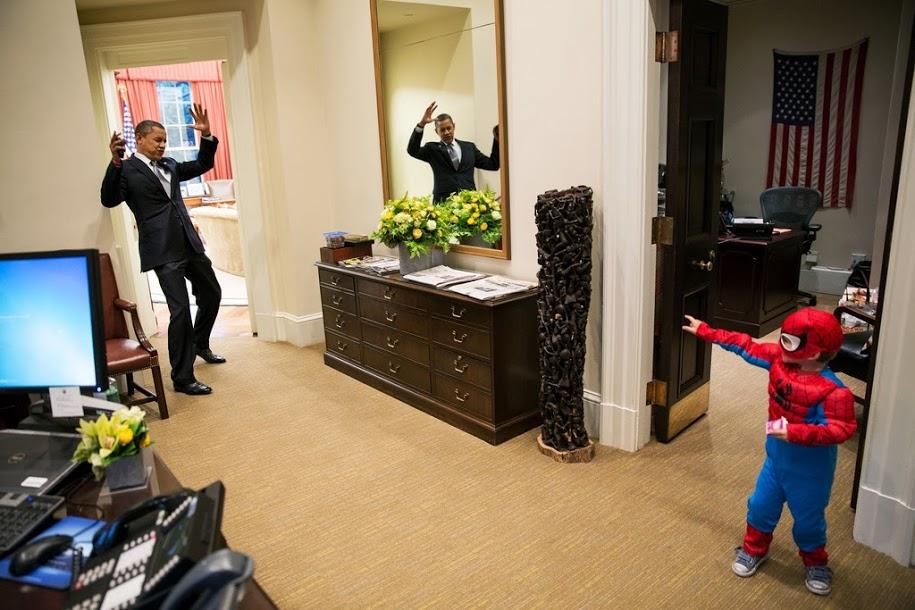 President Obama gets webbed by Spider-Man