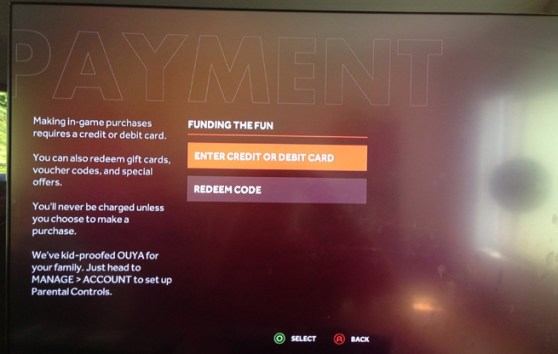 Ouya Payment Screen