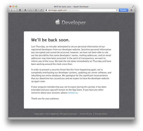 apple developer site hacked