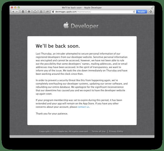 apple developer site hacked