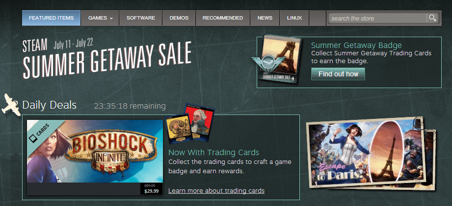 One of the sales on Valve's Steam store.