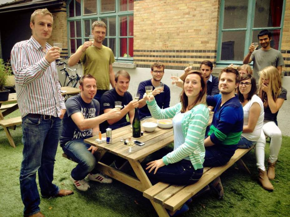 Engagor's team saying toasting to expansion.