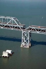 Collapsed span of the Bay Bridge, 1989.