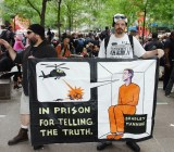 Protesters at a 2011 demonstration supporting Bradley Manning.