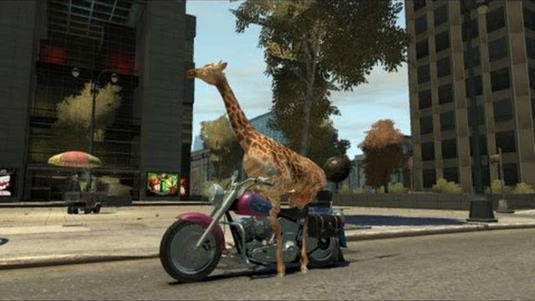 A giraffe rides a motorcycle in Grand Theft Auto IV just 'cause.