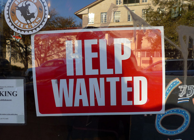 A 'help wanted' sign in Austin, Texas