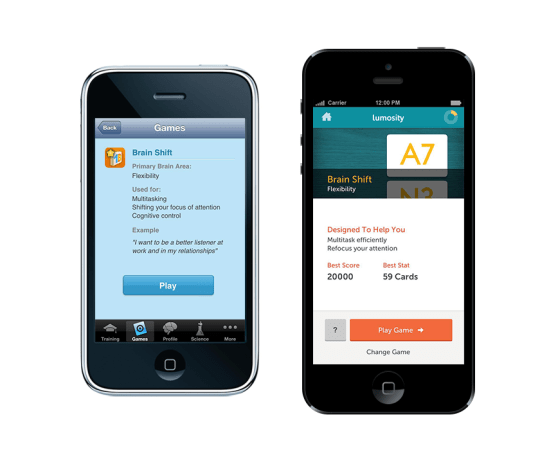 Lumosity's iPhone apps before and after (L-R) the relaunch