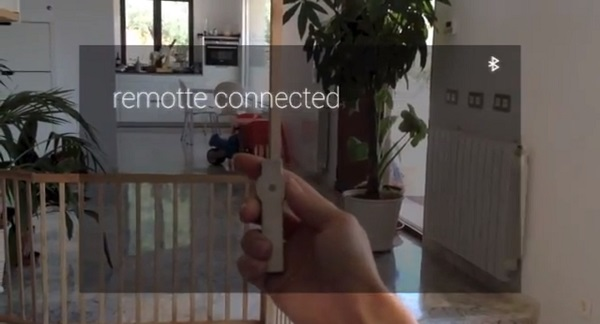 "The handheld ""Remotte"" connects with Google Glass via Bluetooth."