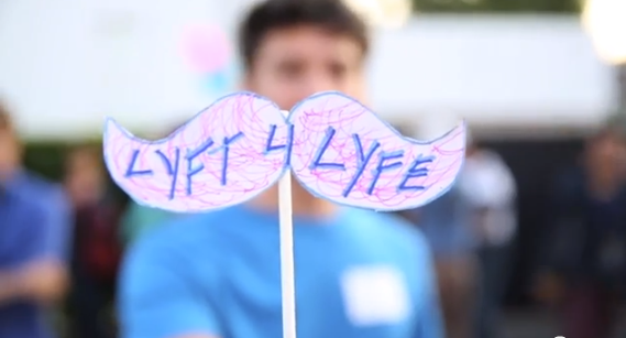 Lyft supporters gather in Los Angeles