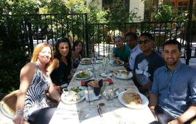 The Rentalroost team at lunch in Pleasanton, CA where the company is located.