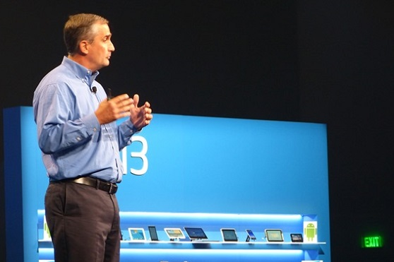 Recently appointed Intel chief executive Brian Krzanich addresses the Intel Developer Forum today in San Francisco.