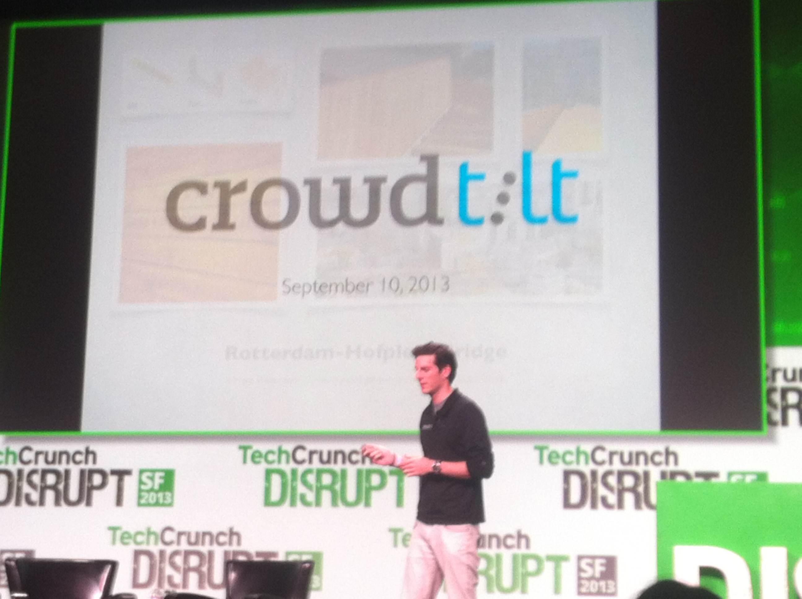 Crowdtilt CEO James Beshara onstage at TechCrunch Disrupt.