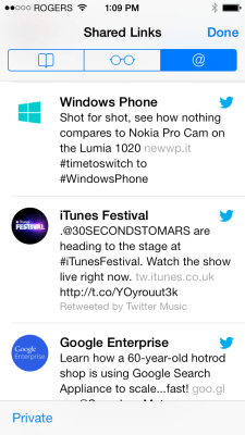 Twitter shared links in Safari