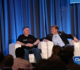Randy Bias (left) believes OpenStack is wise to adopt the Amazon Web Services APIs. Eucalyptus CEO Mårten Mickos challenged him.