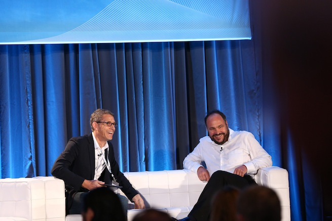 Pivotal CEO Paul Maritz on stage with VentureBeat's Matt Marshall