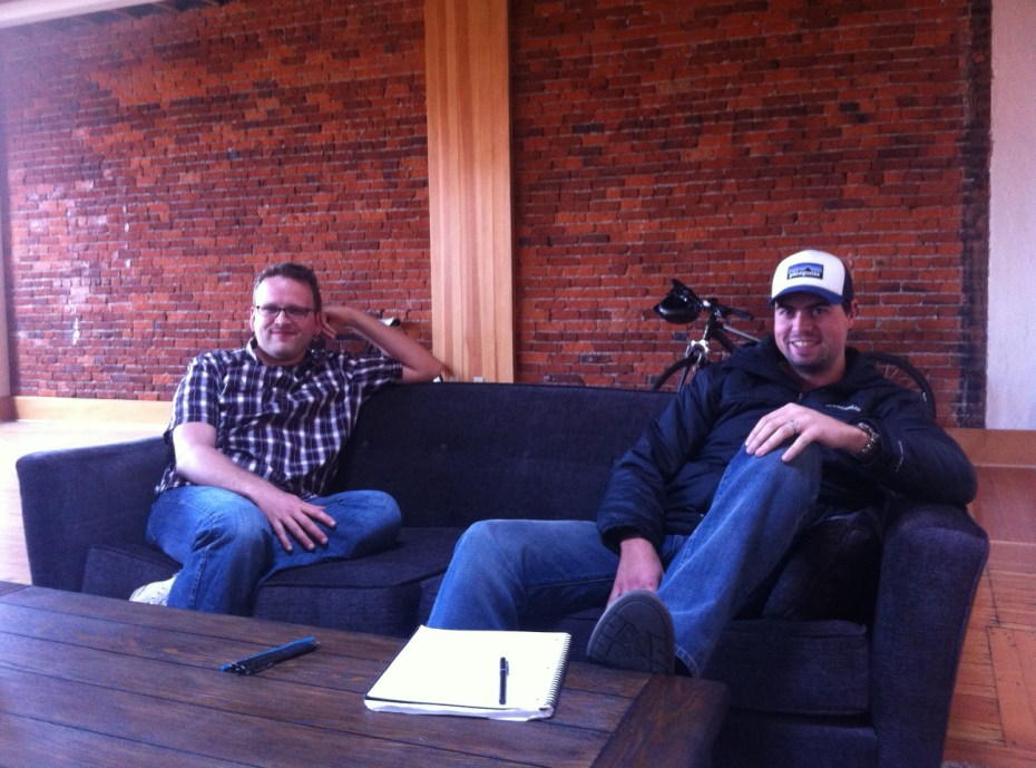 Droplr co-founders Levi Nunnink and Josh Bryant at the company's Bend, Ore., office.