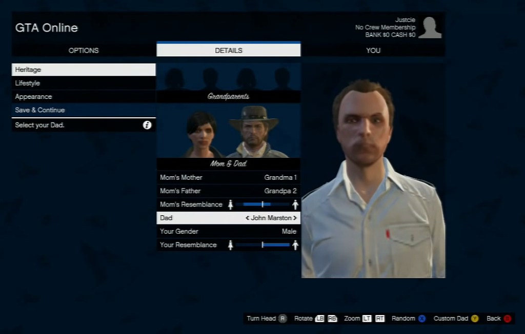 John Marston is selectable as a father for Social Club members