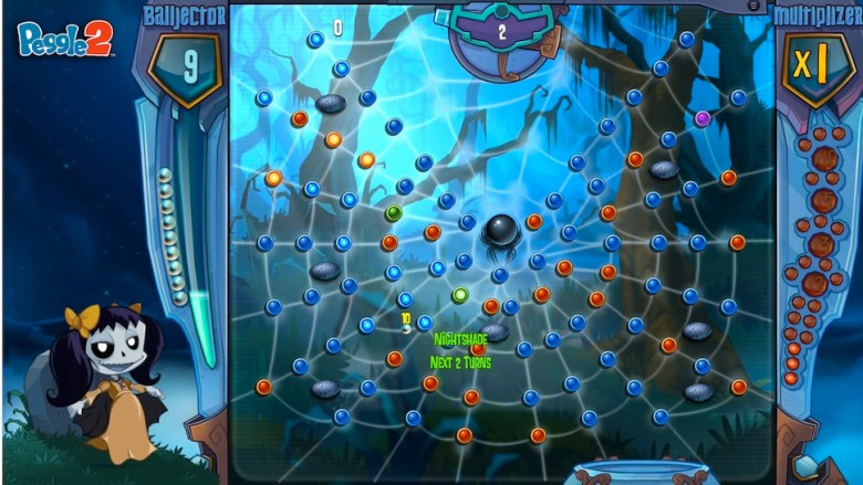 The character Master Luna from Peggle 2 has capabilities that enable her to ghost through the less-important blue pegs.