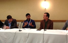 Left to right:  David Kim of Animoca, Michal Pilawski of NativeX, Vatsal Bhardwaj of Storm8, Trip Hawkins of If You Can, Vijay Chattha of VSC.