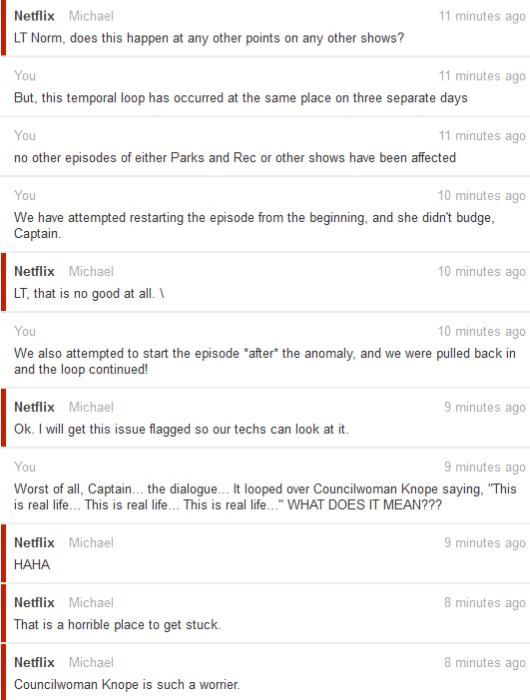 Netflix customer service exchange
