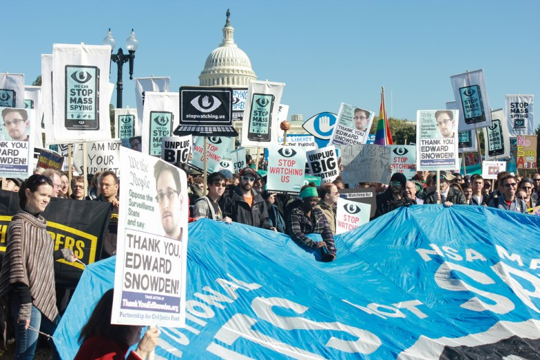 A photo from the Rally Against Mass Surveillance on Oct. 26.