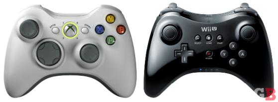Xbox 360 controller vs. Wii U Pro Controller