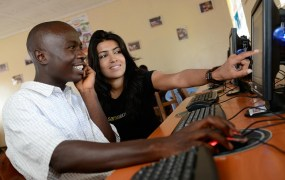 Leila Janah with a Samasource worker in Kenya