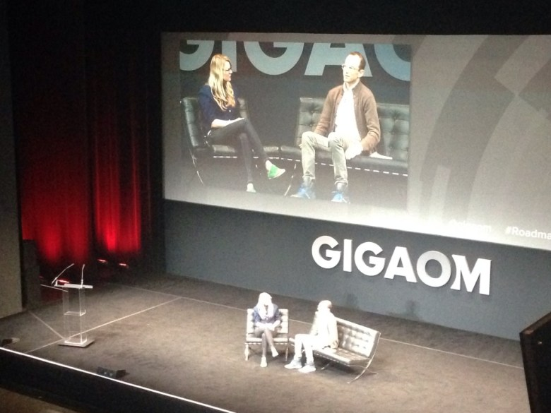 Joe Gebbie with GigaOm writer Katie Fehrenbacher