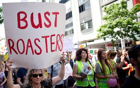 roast busters protest