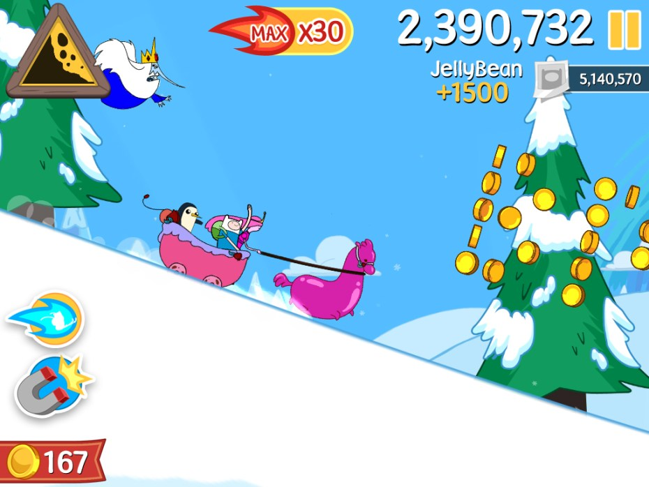 The upcoming Adventure Time game based on Defiant's Ski Safari.