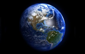 A view of the Earth from space showing North and South America