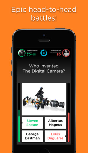 QuizUp trivia game lets you issue challenges to others.