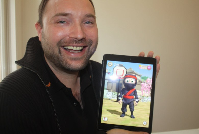 Torsten Reil, CEO of Natural Motion, shows off Clumsy Ninja.