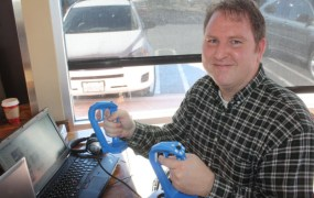 William Provancher of Tactical Haptics shows off the Reactive Grip prototypes.