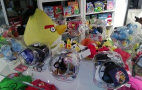 Angry Birds merchandise at Rovio HQ.