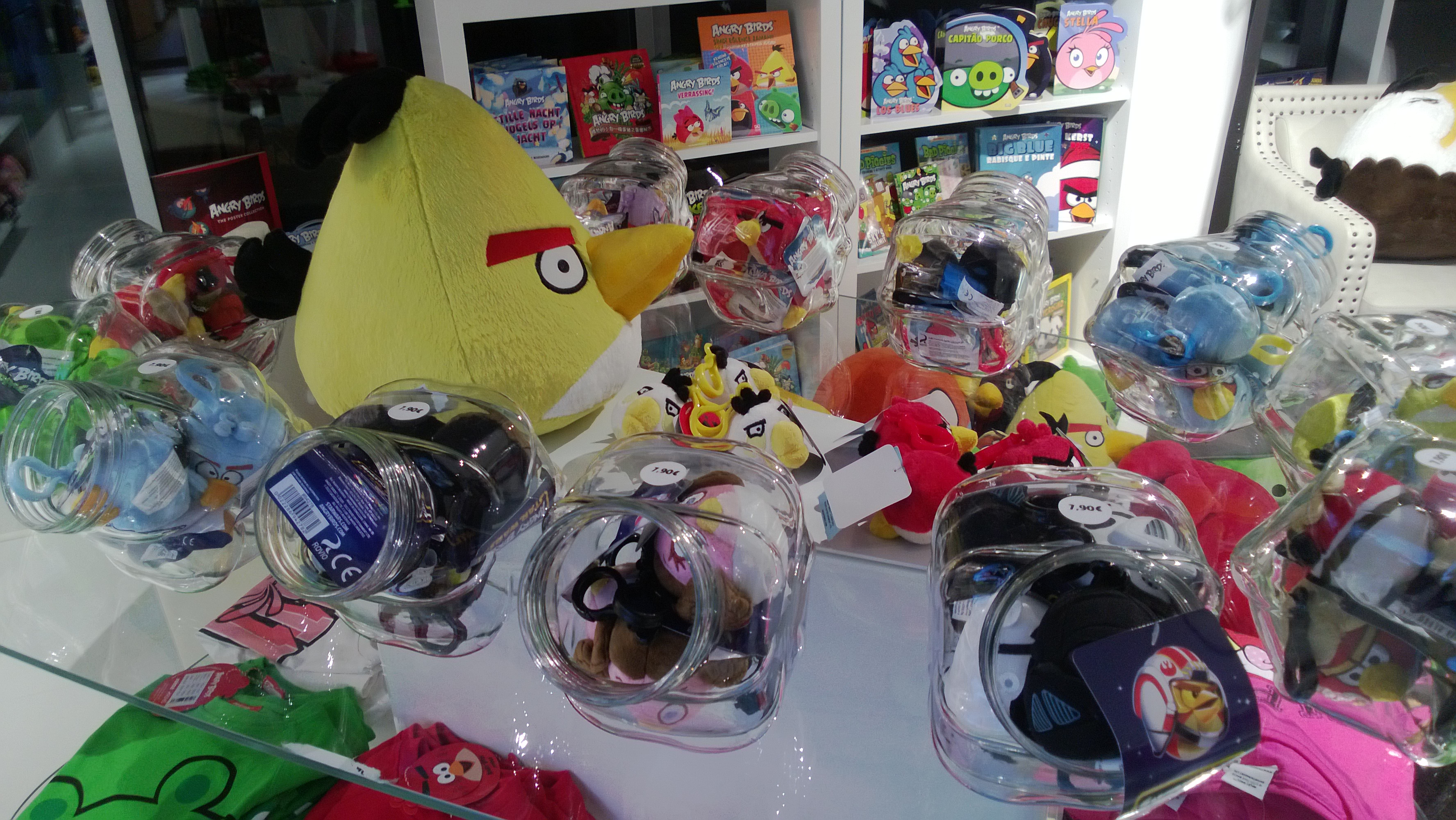 Angry Birds merchandise at Rovio HQ.