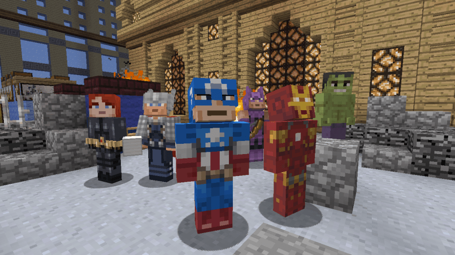 Captain America and the Avengers in the Xbox 360 version of Minecraft.