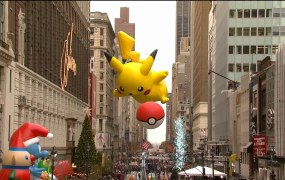 Pikachu's float during the Macy's Thanksgiving day parade.