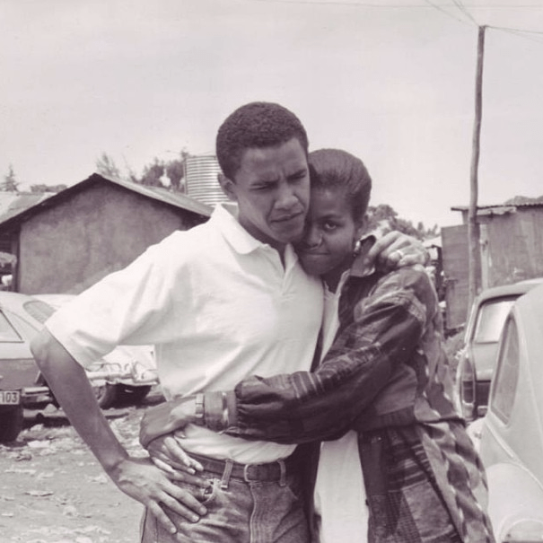 "@michelleobama: ""Barack and Michelle. #ThrowbackThursday #TBT #NoFilter"""