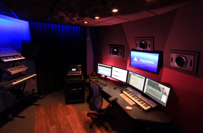 The editing suite at the PlayStation Music Studio.