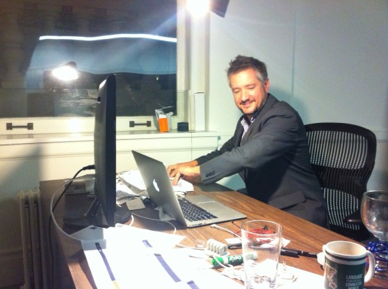 Idibon chief executive Rob Munro clears his desk at the startup's office in San Francisco.