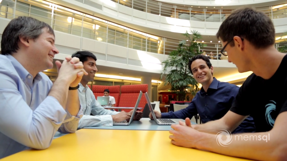 Eric Frenkiel, cofounder and chief executive of MemSQL, second from right, talks with colleagues.