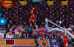 A dunk in NBA Jam.