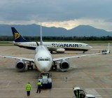 A Ryanair flight at Girona Airport