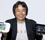 Nintendo's Shigeru Miyamoto with the Wii U's Gamepad controller.