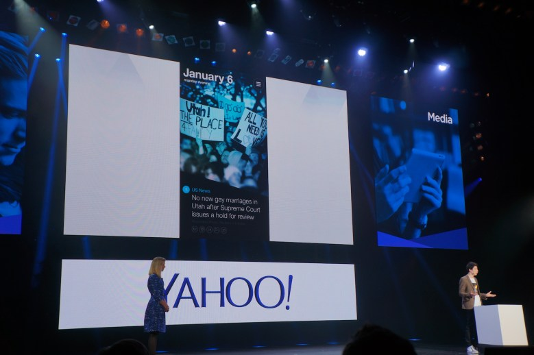 Yahoo showing off its latest news product at CES 2014.